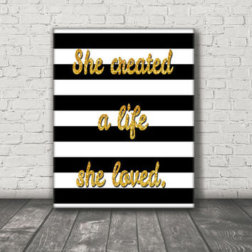 She Created a Life She Loved Stretched Canvas Art Print - Canvas Wall Hanging - Girl Boss - Motivational Wall Art - Black White and Gold