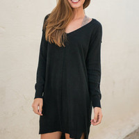 Longing For Love Sweater Dress, Black
