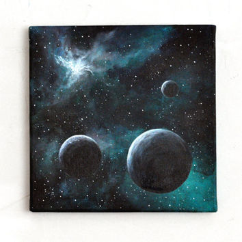 "FREE SHIPPING, Original painting, art, acrylic, canvas, space, blue, mint, black, turquoise, moon, galaxy, contemporary, abstract, 7.9""x7.9"""