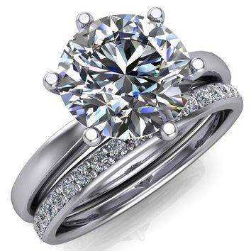 Enid Round Moissanite 6 Prong Engagement Ring