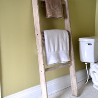 Ivory Distressed Decorative Wooden Ladder