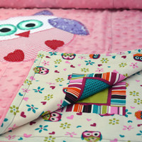 Pink Minky baby blanket, Quilted toddler blanket, travel blanket, baby blanket with applique owls
