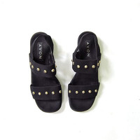 90s black studded sandals. peep toe flats.