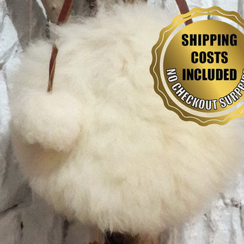 Shoulder Bag - 100% Naturel Genuine White Sheepskin Fur