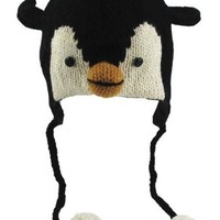 Delux Penguin Wool Pilot Animal Cap/Hat with Ear Flaps and Poms