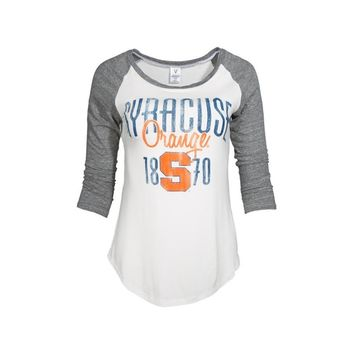 White Official NCAA Syracuse Orange Su Otto The Down Field Women's 3/4 Baseball Raglan T-Shirt