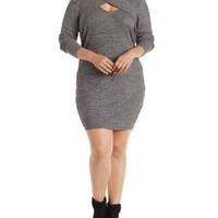 Plus Size Crossover Shawl Collar Long Sleeve Dress