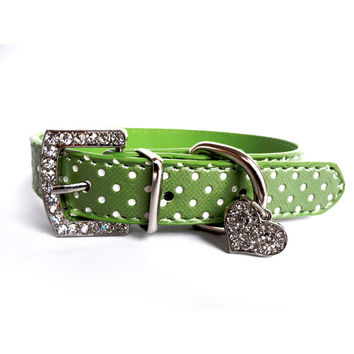 Rhinestone Dog Collars Polka Dot PU Leather Collar Perro Pet Crystal Heart Pendants Puppy Small Dog Collar For Pets Product