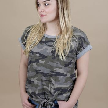 Camo Knotted Tee, Olive