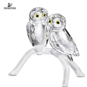 Swarovski Clear Crystal Figurine OWLS Pair of Owls on Branch #1003312