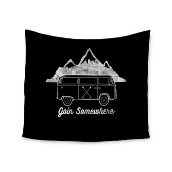 "Draper ""Goin Somewhere B"" Black Typography Wall Tapestry"