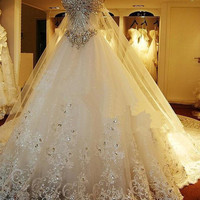 Luxury Crystal Beaded Wedding Dress Long Train Custom Made