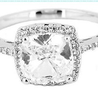 Sterling Silver 2.5 Cttw Cushion Cut Center Cubic Zirconia Engagement Ring:Amazon:Jewelry
