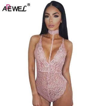 ADEWEL Hot Sexy Lace Bodysuit Women Choker Neck See Through Skinny Body Jumpsuit Ladies Romper Combinaison Shorts Playsuits