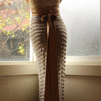 High Waist Sequin Maxi Skirt With long silk bow- Holiday Perfect