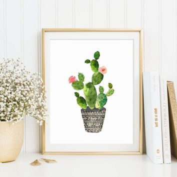 Watercolor Cactus Painting Unique Potted Plant Wall Art Decor Cactus Arts Creative Fine Art Kids Room Fresh Decor Unframed