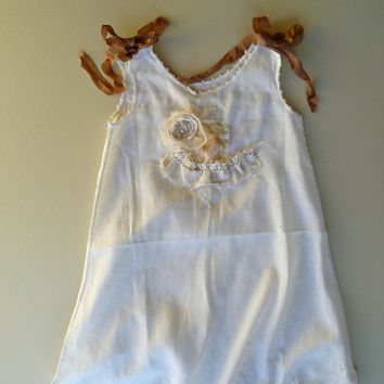 Rustic Woodland Wedding Flower Girl. Refashioned Vintage Girls Dress. Shabby Chic Baby Couture. Country Wedding