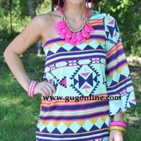 Mint To Be Together Aztec Dress
