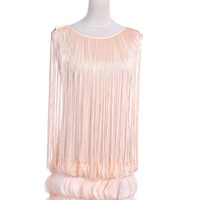 Anna-Kaci S/M Fit Beige Draping Long Fringe Petal Flutter Embellished Hem Dress [Y92896] - $33.90 : Alilang, Fashion Costume Jewelry & Accessories Store