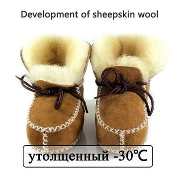 2016 Winter genuine leather baby boy snow boots for girl Newborn warm shoes infant toddler soft sole First Walkers booties brand