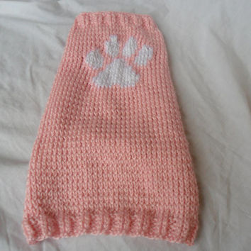 Knit Dog Sweater - Size Small, Pink with Paw Print