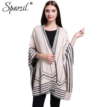 Women Autumn Three Quarter Bat Wing Sleeve Cashmere Cardigan Sweater Striped Contrast Colors Knitwear Open Stitch