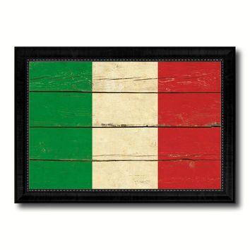 Italy Country Flag Vintage Canvas Print with Black Picture Frame Home Decor Gifts Wall Art Decoration Artwork