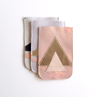 iPhone 4 Leather Case // Soft Pale Pink Gold Holographic Leather // Pouch // Geometric Art Deco