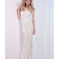 LM by Mignon HY1290 White & Nude Lace Strapless Dress 2015 Prom Dresses
