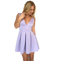Deep V Tea & Crumpets Dress In Lavender