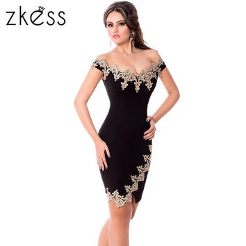 ZKESS Black Bodycon Summer Dress Slim Sexy 2017 Elegant Slash Neck Sheath Short Sleeve Lace Sheer Vintage Party Dresses LC22715