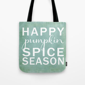 happy pumpkin spice season-blue Tote Bag by Sylvia Cook Photography