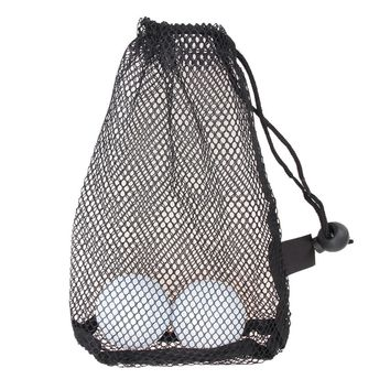 Black Nylon Mesh Net Bag Pouch Golf Tennis 15 Balls Holder Hold Ball Storage Closure Training Aid Durable