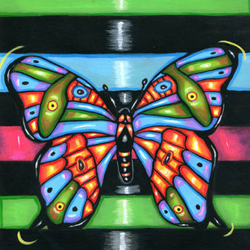 Butterfly Art, Butterfly Painting, butterflies original Folk Art, acrylics animal modern art, insects bugs original art paintings,