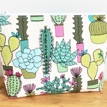 Succulent Gift - Cactus Gift - Cactus Makeup Bag - Small Makeup Bag - Gift For Teen Girl - Cactus Birthday - Cute Makeup Bag - Gift for Her