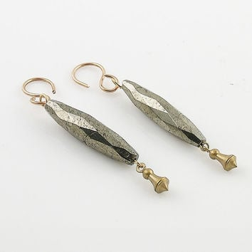 Bronze & Faceted Pyrite Earrings