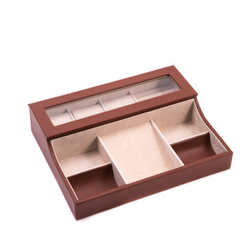 Brown Leather Valet Box for 3 Watches, Slots for Cufflink, Change and Phone Tray