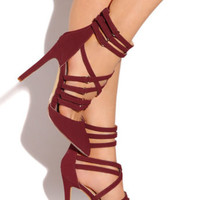 Midnignt Magic Strappy Pump - Burgundy