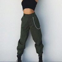 New Army Green Pockets High Waisted Casual Chain Cargo Harem Long Pants