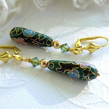 Green Cloisonne Earrings Green and Gold Earrings Green Enamel Teardrop Earrings Cloisonne Jewelry Gift for Her