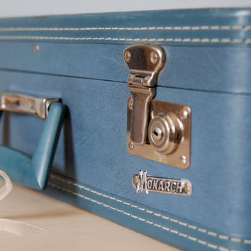 Vintage Blue Monarch 20inch HardSided by BoldSparrowVintage