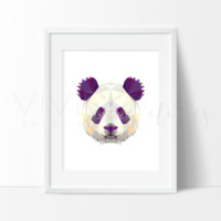 Geometric Low Poly Panda Bear Head