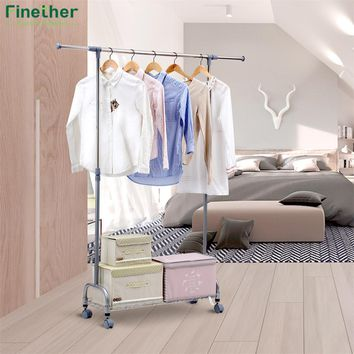 Finether Adjustable Rolling Garment Rack Clothes Storage Organization Drying Hanging Portable Wardrobe Bottom Storage Organizer