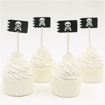 24pcs pirate skull theme cake toppers pirate flag cakecup picks birthday party decoration Halloween favor decoration