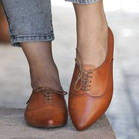 Camel Women's Handmade leather Oxford Shoes