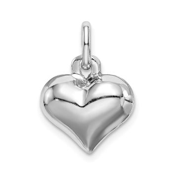 925 Sterling Silver Rhodium-Plated Puffed Heart Charm and Pendant