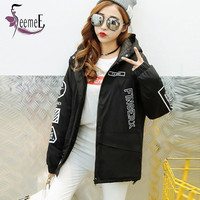 SeemeE Trend Style Women Trench Coats Casual Hooded Long Sleeve Winter Clothes Women Elastic Cuffs Print Trenchcoat