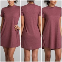 Turtle Neck Swing Dress in Mauve
