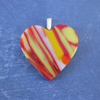 Heart Pendant, Red Yellow White and Orange Heart, Fused Glass Jewelry - Hot Mama - 4641 -4