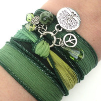 Tree of Life Silk Wrap Bracelet Yoga Jewelry Bohemian Earth Jewelry Green Yellow Earthy Unique Gift Under 50 Item B67